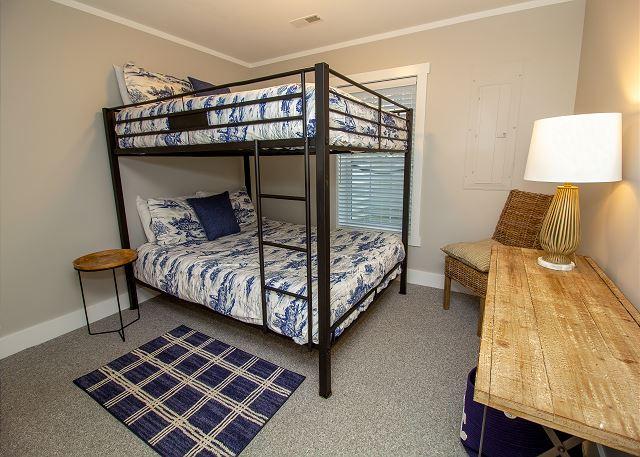 Basement queen bunk bed