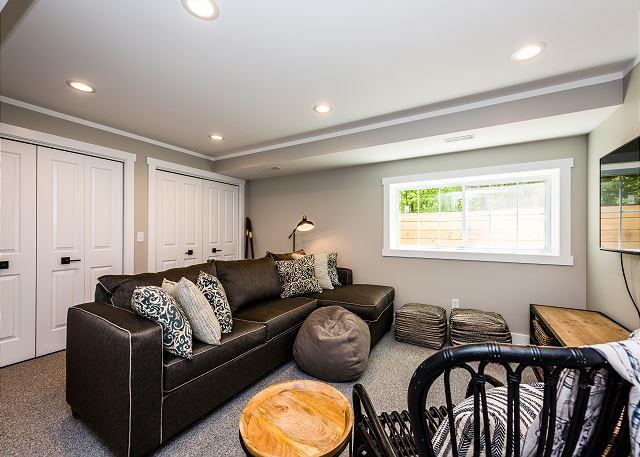 Cozy garden level living room.
