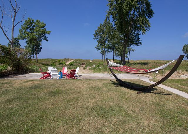 Relax in the hammock or share stories around the friendship circ