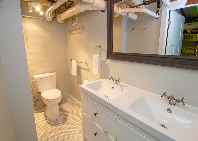 Basement bathroom separate from shower room