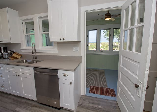 kitchen with an enclosed porch