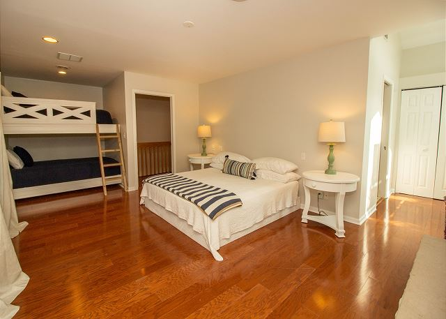 Second master king bedroom with queen bunk beds and attached ful