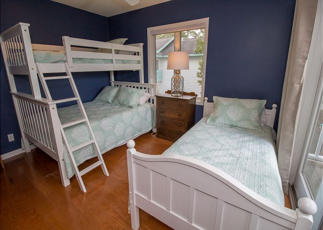 Third floor Bunk with twin over full and twin bedroom.