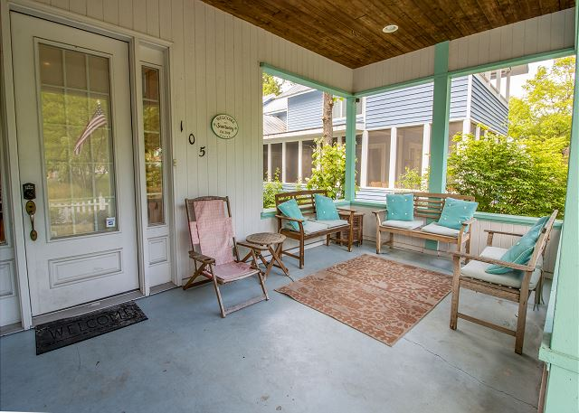 Front porch entrance with seating
