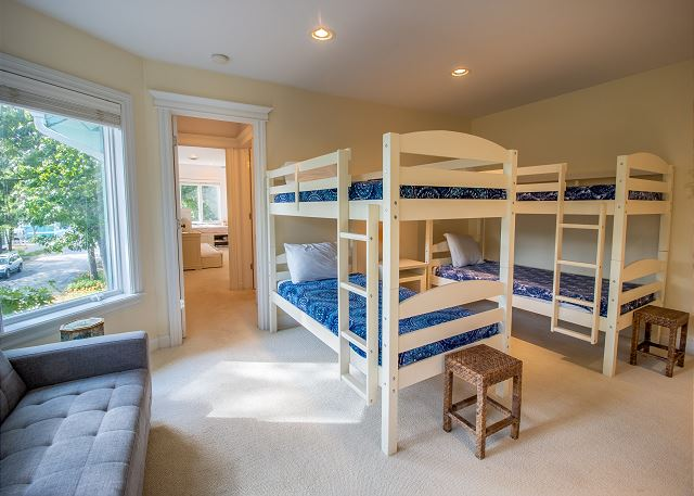 Second level bedroom #3- bunk room with 2 sets of bunk beds and