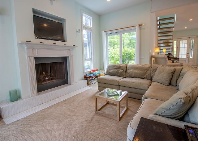 Main level living room with fireplace