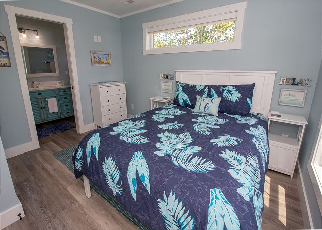 Second floor Queen bed with attached 3/4 bath