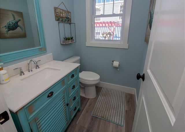 Powder room off the kitchen