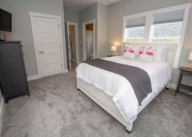 Second level queen bedroom with attached full bath and walk out
