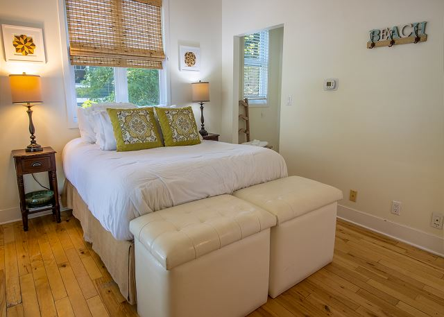 First level queen bedroom with attached full bath