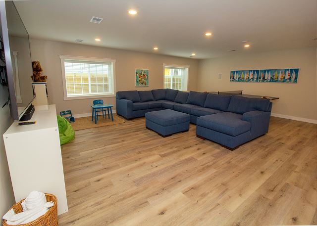 Basement living space with sleeper sofa bed