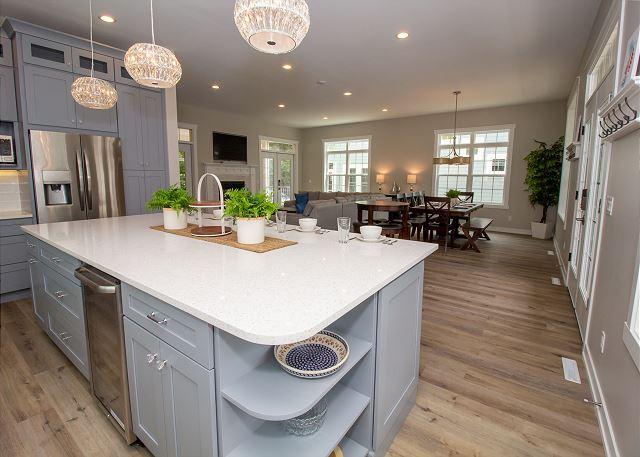 Main level kitchen with wine refrigerator