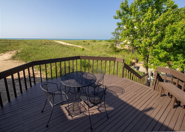 Raised deck with view of Lake Michigan