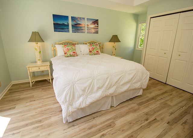 Second level king bed with attached full bath