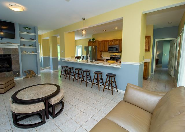 Main level kitchen, dining and living room