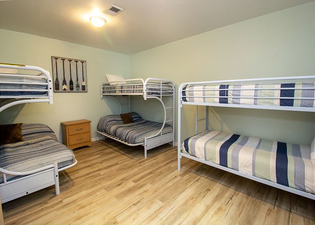 Ground level bunk room with 2 twin over queen and twin bunk