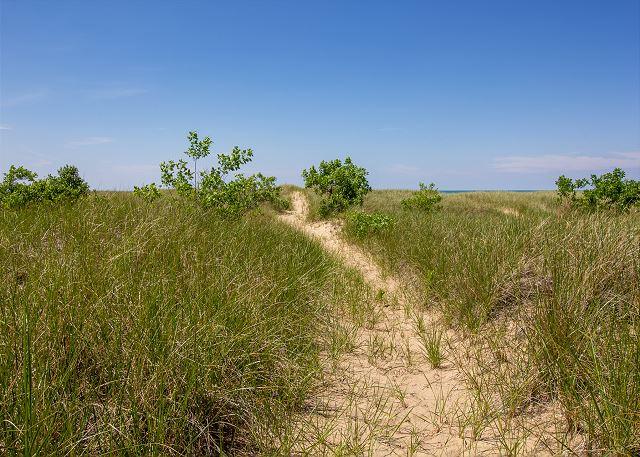 Semi-private path to beach front