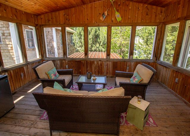 Second level three season screened in porch