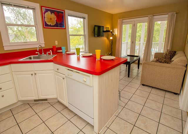 Open concept with full kitchen and living room