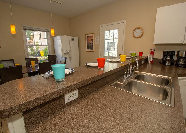 Kitchen counter with seating area