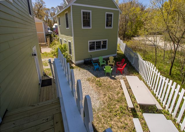 Back deck, off second floor landing , view of fire pit