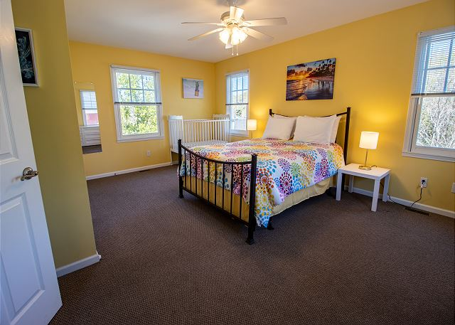 Second Level Bedroom #6 - 1 Queen & Crib with attached 3/4 bathr