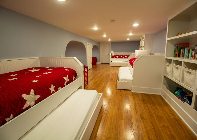 Basement 3 twin trundle beds