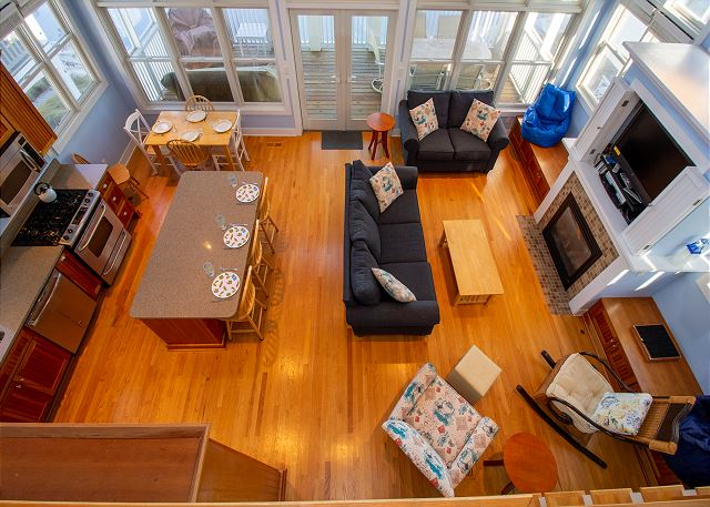 Aerial view of main level living area
