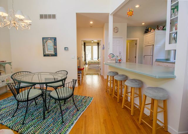 Main level dining room with kitchen