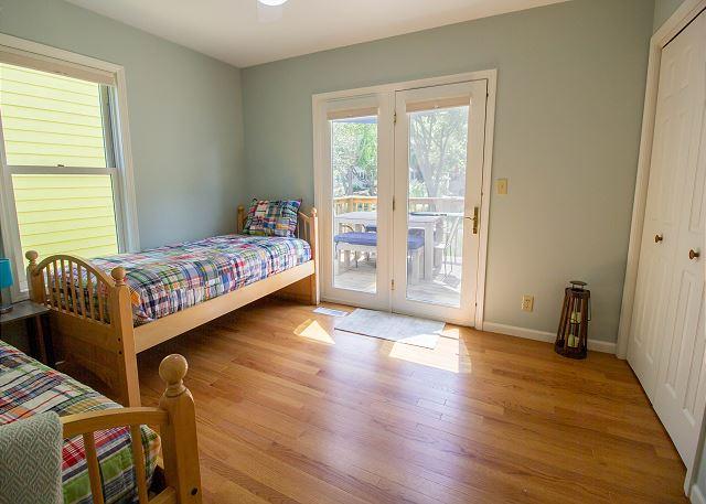 Main level bedroom #1 door to back deck