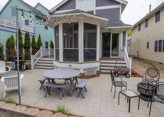 Back Porch with fire pit, gas grill and picnic area