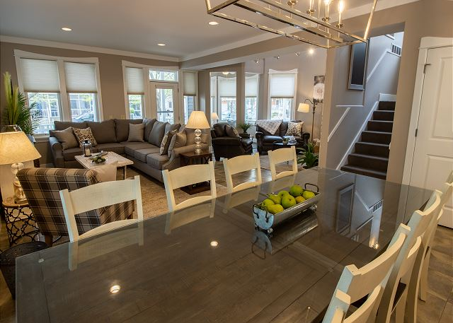 Main Level Dining table seating for 8