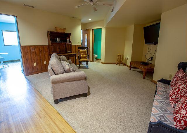 Basement living room with queen sleeper sofa, hall 3/4 bathroom