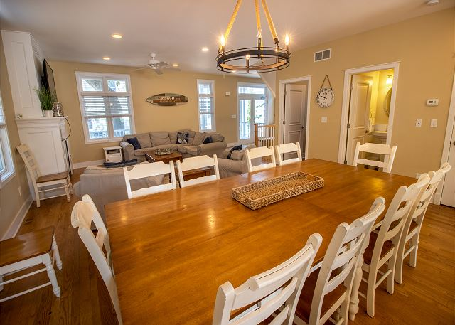 Main level kitchen with dining room, seating for 10