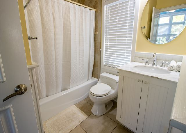 Guest level second level attached jack and jill bathroom