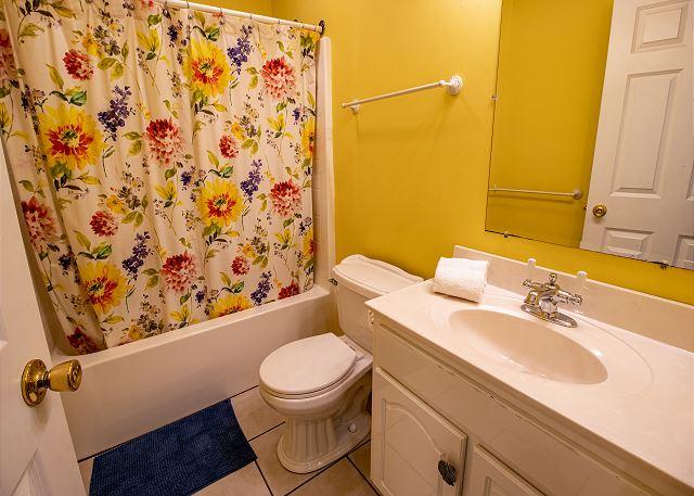 First level full bath in hall