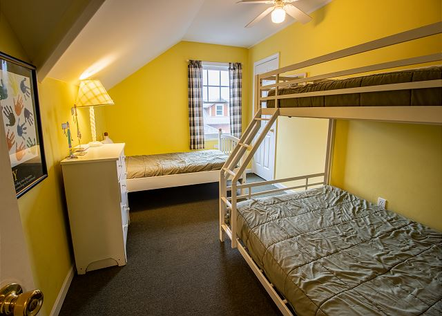 Third Level Bedroom #6 twin over full bunk and a twin bed