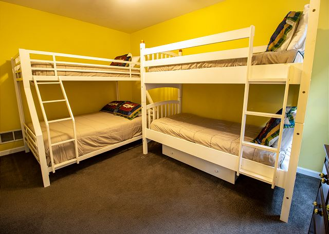 First level bedroom #4 - 1 twin bunk and 1 twin over full bunk
