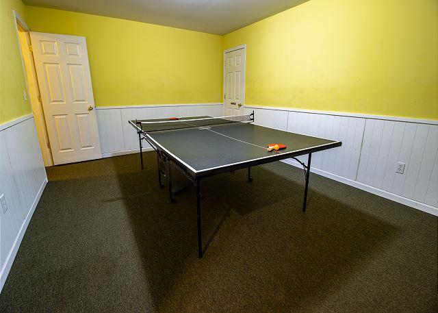 Basement ping pong table