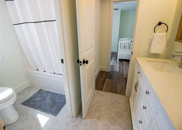 Attached full jack and jill bathroom