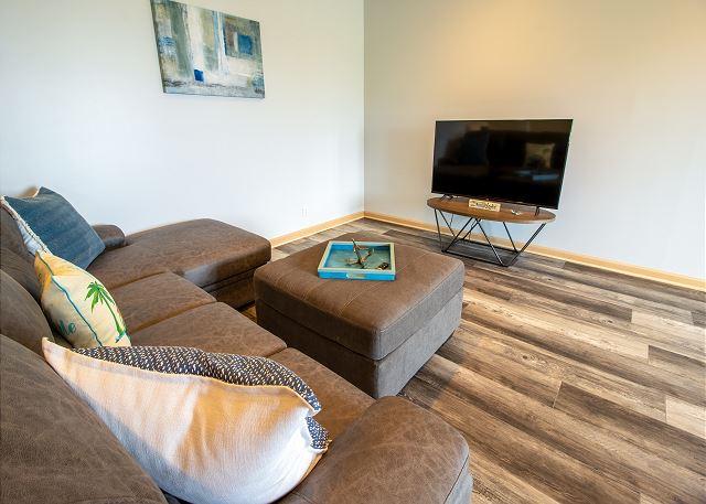 Ground level living room with sleeper sofa