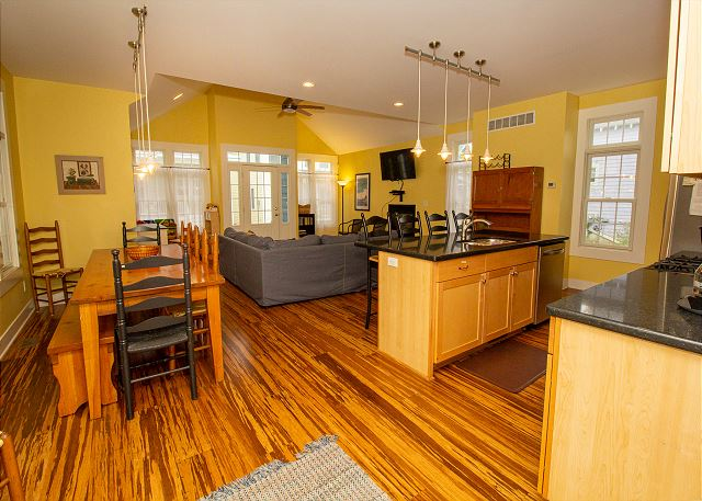 Kitchen, dining room and living room
