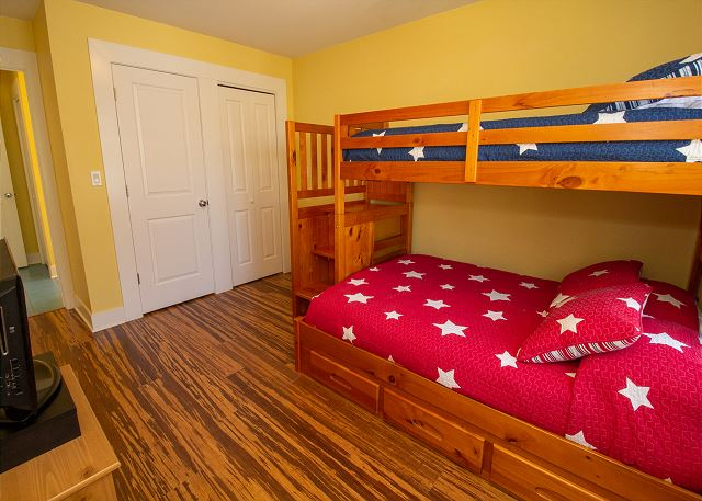 Second floor bunk bed with top twin and bottom full