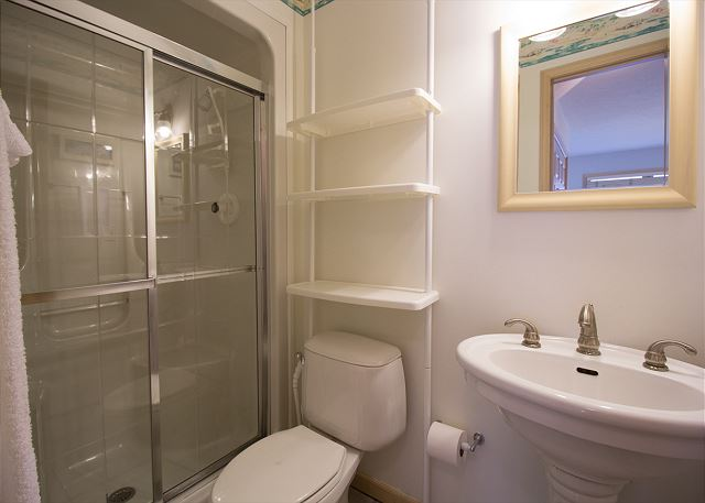 Main level bathroom with stand alone shower