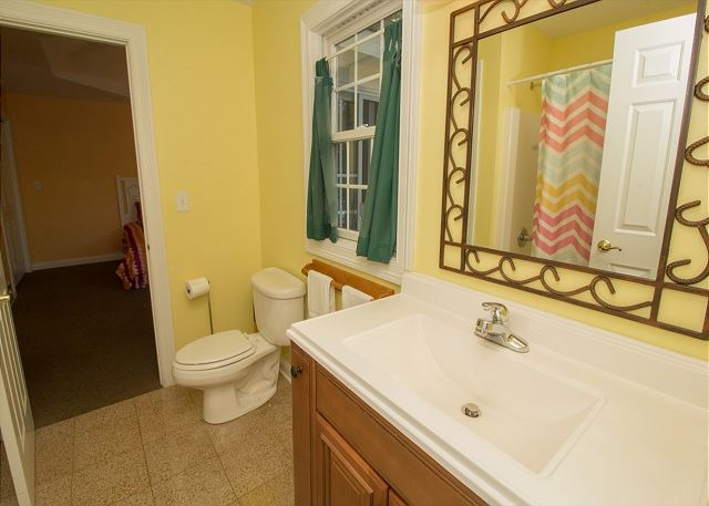 Jack and Jill bathroom off twin bedroom shared with queen room.