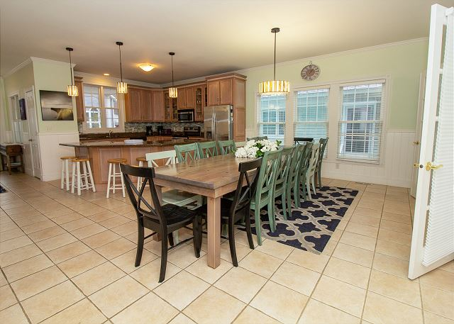 Kitchen and dining table seating for 16