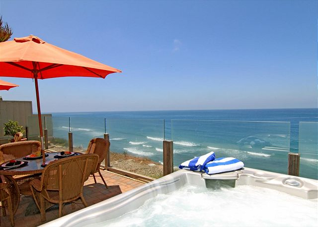 private spa overlooking the ocean.  oceanfront patio.
