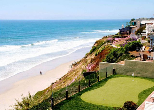 Private putting green overlooking the ocean