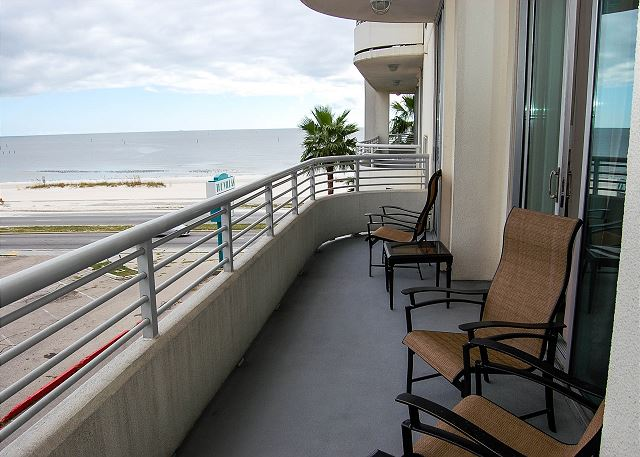 Looking out over the Gulf from the Large Balcony with Seating for 4