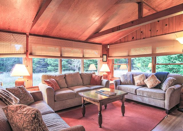 Enjoy An Extra Ious Living Room With Wood Burning Fireplace And Garden Views All Around